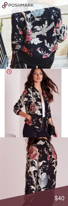 Floral embroidered bomber jacket Beautiful colors, only worn once. Re-posh. ASOS Jackets & Coats