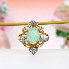 Yellow Gold Premium Grade Rainbow Fire Solid Australian Crystal Opal, Diamond Pendant