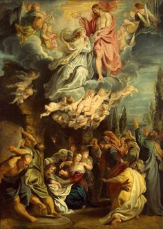 Ascension (Assumption) and Coronation of Jesus' Mother 1611 Peter Paul Rubens © The State Hermitage Museum // Peter Paul Rubens, Renaissance Kunst, Renaissance Paintings, Catholic Art, Religious Art, Rubens Paintings, Assumption Of Mary, Queen Of Heaven, Baroque Art