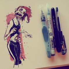 And of course my wife had to zombified #2dbean #art #brettbean #sketch #drawing #girl #fantasy #ink #inktober #zombie