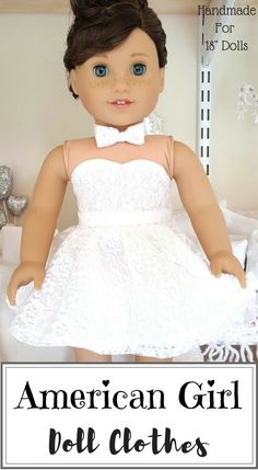 American girl doll white lace skirt, bustier, and bowtie, This is sooooo adorable!!!! #americangirl #handmade #dollclothes #affiliate #etsy