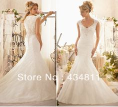 New Arrival Crysta/Beaded/Embroidery V-Neck Button-Up Lace Sleeveless Sexy Mermaid Wedding Dresses 2013