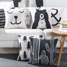 Buy Black and White Cute Bear Cushion Cover Lovely Cartoon Animal Cactus Plant Geometric Pillow Case Nordic Style for Home Chair at Wish - Shopping Made Fun Boho Throw Pillows, Throw Pillow Covers, Pillow Cases, Printed Cushions, Cushions On Sofa, Ideias Diy, Geometric Pillow, Geometric Animal, Decor Pillows