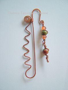 Bookmark  forged copper Unakite Sunstone by DanusTreasureTrove, $10.00
