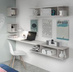 Dormitorio de la colección Nuit con zona de trabajo. Nuevo catálogo 2016