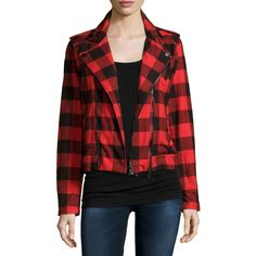 Hudson Cynic Moto Jacket ($255) ❤ liked on Polyvore featuring outerwear, jackets, tundra plaid, red jacket, cotton jacket, slim fit biker jacket, cotton motorcycle jacket and slim motorcycle jacket