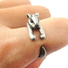 - Details - Sizing - Shipping A super cute animal ring made in the shape of a squirrel in silver! The ring is very detailed and realistic with the squirrel wrapped around your finger with its tail! Fo