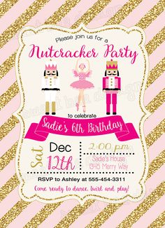 Nutcracker Invitation Nutcracker Birthday by SweetBeeDesignShoppe