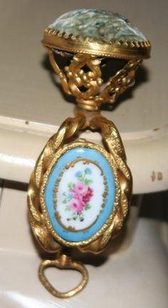 Rare French Antique Pin Cushion Clamp w/Hand Painted Porcelain Plaque; Circa 1800
