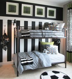 This young soccer star loves his moder, yet whimsical, new bedroom. Notice the custom artwork featuring astroturf matte! #ad