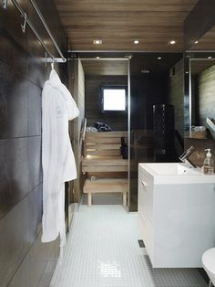 Bathroom & sauna by Coco Sweet Dreams/Lily. Laundry Room Bathroom, Bathroom Spa, Bathroom Toilets, Small Bathroom, Minimal Bathroom, Bathroom Modern, Bathroom Ideas, Spa Interior, Bathroom Interior Design