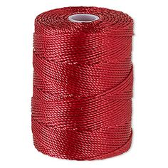 Thread, C-Lon�, nylon, red hot, 0.5mm diameter. Sold per 92-yard bobbin.