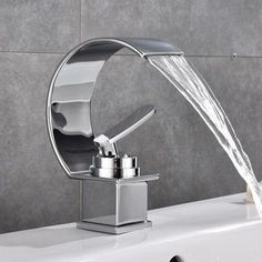 Basin Faucet Waterfall Black with Brushed Bathroom Basin sink Faucet Cold and Hot Water Mixer Single Handle Bathroom Taps 855737 Stainless Steel Faucets, Brass Faucet, Basin Sink Bathroom, Shower Faucet, Concrete Bathroom, Shower Tiles, Sinks, Waterfall Faucet, Rainfall Shower