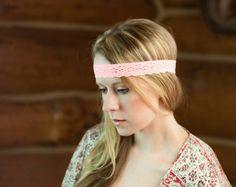 Coral Lace Headband Thin Skinny Head Piece by ForgottenCotton