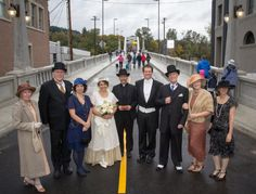 Historic re-enactors, of the Willamette Living History Tour, relived the 1922 wedding ceremony and ribbon cutting that occurred on the Arch Bridge when it first opened 90 years ago. Photo by Christopher Communications.