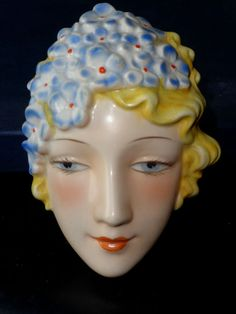 Original 1930's Goebels Art Deco Czechoslovakian Wall Mask~Rare Design~#5~Mint #WallPlaques