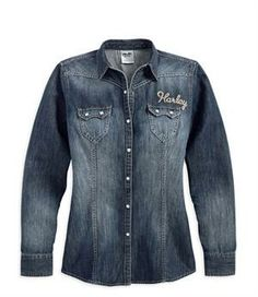 Harley-Davidson® Women's Contrast Stitching Long Sleeve Shirt 96031-14VW