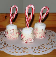 3 Candy Cane Marshmallow Pops Hot Chocolate Dippers Christmas Present Edible Christmas Gift Have a Sweet Christmas Favor Tag Holiday Favor