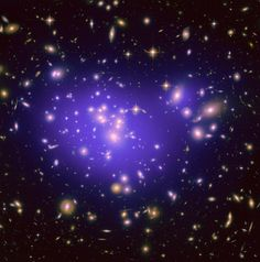 Inner region of Abell 1689, an immense cluster of galaxies. Dark matter distribution is shown in the blue overlay. http://hubblesite.org/newscenter/archive/releases/exotic/2010/26/