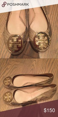 Tory Burch Reva Ballet Flat The snakeskin and gold combo makes a statement for fall! Pairs well with almost everything. There is no size label on the inside (that's why I didn't take a picture of that) but these are a size 9.5 M. Tory Burch Shoes Flats & Loafers