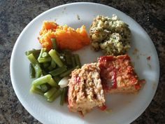 Turkey Meatloaf, Fresh Cut up Green Beans with Onion and Garlic, Sweet Mashed Potatoes, and Broccoli Cheese Casserole made with Cauliflower, Celery, Onion, and Quinoa.