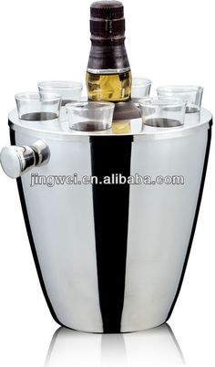 Stainless Steel Ice Bucket With Glass Cups - Buy Stainless Steel Ice Bucket With Glass Cups,Wine Ice Bucket,Stainless Steel Ice Bucket Produ...