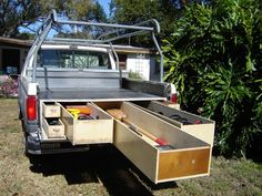 Best Truck Bed Drawer Design to Make More Space in Your Truck Truck Bed Drawers, Truck Bed Storage, Van Storage, Bed With Drawers, Storage Drawers, Storage Ideas, Boot Storage, Storage Solutions, Bed Tool Box