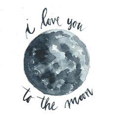 'to the moon' Hi by Rachael Ryan #watercolor #iloveyoutothemoon #moon