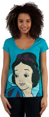 This Snow White Shirt features a close up of Disney's version of the fairy tale character on a v-neck shirt.