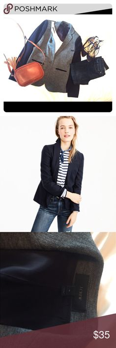 Jcrew flannel wool classic blazer Dark blue and grey, one button blazer. Grey in front with blue accents at pockets and blue on the back. Has nice stretch to it-perfect to dress up for work or wear casually spring, fall & winter. Pic from Jcrew is same cut but different blazer. J. Crew Jackets & Coats Blazers