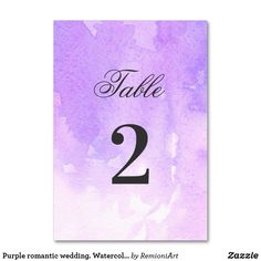 Watercolor lilac simple Table Number created by RemioniArt. Purple Wedding Tables, Purple Table, Card Table Wedding, Wedding Table Numbers, Wedding Cards, Table Name Cards, Table Names, Romantic Weddings, Lilac