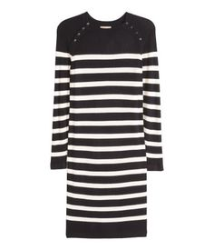 H&M+ Ribbed dress | Black/Striped | Ladies | H&M AU