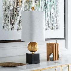 Eaya Table Lamp with Gold Base and White Shade - Overstock - 14442603 Interior Lighting, Home Lighting, Lighting Store, Make A Table, Lamp Shade Store, Transitional Wall Sconces, Gold Table, Cool Floor Lamps, Burke Decor