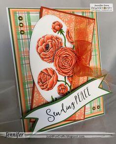 Just4FunCrafts: Ranunculus Digital Stamp Set by Power Poppy, card design by Jennifer Dove.