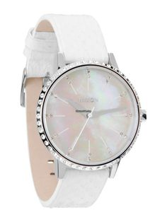 The Kensington Leather Watch in Crystal and White Snake by Nixon Seiko, Bracelet Cuir, Classy And Fabulous, Perfect Body, Timeless Fashion, Women's Accessories, Nixon Watches, Jewels, Crystals