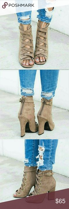 """Lace Up Vegan Suede Booties - Taupe Lace Up Vegan Suede Booties - Taupe   ALSO AVAILABLE IN BLACK!  True to size   Heel - 4 1/4""""  ● PRICE IS FIRM ● Shoes Ankle Boots & Booties"""