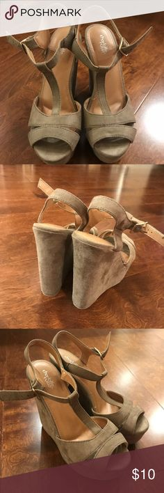 NEW Charlotte Russe wedges Brand new and never worn tan Charlotte Russe wedges. Super cute for the summer or for a formal event. Size 8 Charlotte Russe Shoes Wedges