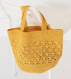 Tecendo Artes em Crochet: Bolsa Amarela Linda!
