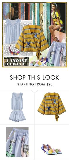 """Patched Stripes Wrap Blouse Yellow"" by carola-corana ❤ liked on Polyvore"
