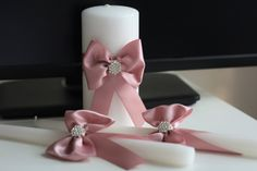 Dusty Rose Unity Candles, Pillar and Stick Wedding Candle, Handmade Bow Unity Candle, Candles with Ribbon Bow and Brooch Wedding Unity Candles, Candle Wedding Favors, Candle Favors, Wedding Favor Bags, Candle Set, Pillar Candles, Vintage Wedding Favors, Winter Wedding Favors, Wedding Motiff