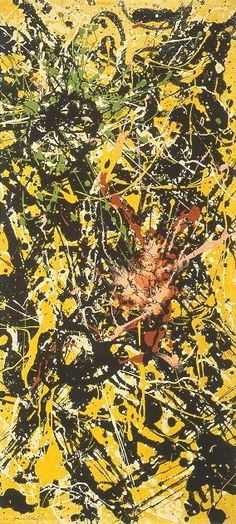 "Jackson Pollock - Vertical Painting (1949) - Oil paint on canvas - 26.7"" X 12.5"" - Copyright P-KF/ARS"
