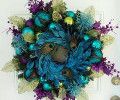 Peacock Christmas Wreath. $169.00, via Etsy.