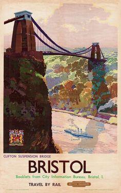 British Rail - Bristol, Clifton Suspension Bridge - vintage old repro poster in Art, Posters, Modern Poster Shop, A4 Poster, Retro Poster, Kunst Poster, Poster Prints, Posters Uk, Train Posters, Railway Posters, British Travel
