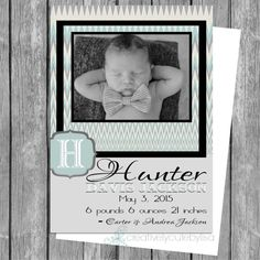 SPRING SPECIAL Birth Announcement Photo Card 5x7 PRINTABLE on Etsy, $6.75