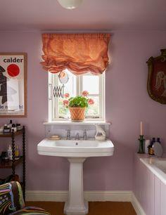 Cottage Farmhouse, English Countryside, Architectural Digest, Lilac Bathroom, Bathroom Colors, Curtains, Edward Hall, Architecture, Bathroom Inspiration