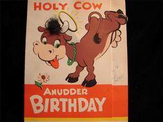 "VINTAGE ""HOLY COW! ANUDDER BIRTHDAY!!"" BIRTHDAY GREETING CARD - POP-OUT Vintage Greeting Cards, Birthday Greeting Cards, Birthday Greetings, Funny Cows, Birthday Board, Pop, Ebay, Greeting Cards Birthday, Vintage Cards"