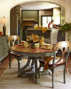 Pier 1 Marchella Dining Table and Chairs in Sage & Brown