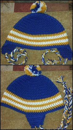 Blue and gold crochet earflap hat. Mcneese.  (Modified from Free Pattern)  http://www.repeatcrafterme.com/2013/10/crochet-unicorn-hat-pattern.html