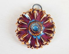 Handmade porcelain pendant  flower burgundy and blue . by Majoyoal