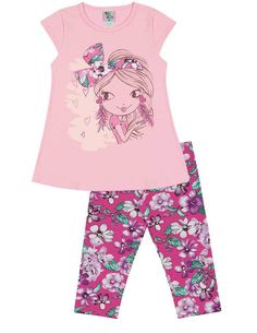 Toddler Girl Flower Power Short Sleeve shirt and Capri Leggings Outfit 5fef1a4e3